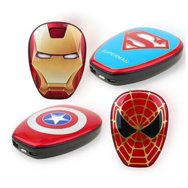 Super cool superman ironman captain america the avengers 6000 mah banco de la energía cargador portátil para iphone teléfonos android