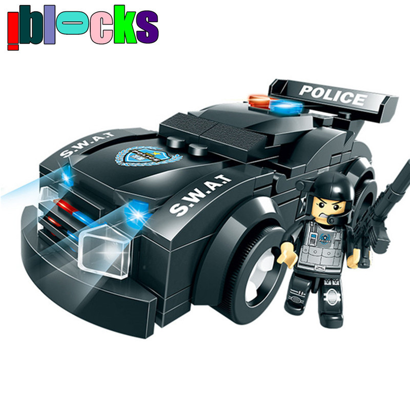 IBLOCKS Military SWAT Boys Models & Building Toy City Police Minifigures and Car Blocks Compatible With LEGO Toys For Children