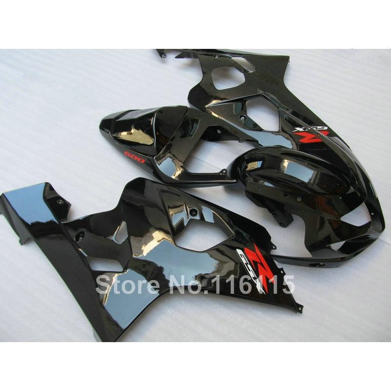 7 gifts plastic fairing kit for SUZUKI GSXR600 GSXR750 K4 2004 2005 all glossy black fairings bodywork GSXR 600 750 04 05 YV92 custom road fairing kits for suzuki glossy flat black 2006 gsxr 1000 k5 2005 gsx r1000 06 05 motorcycle fairings kit