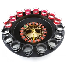 Купить с кэшбэком 1 Set Russian Lucky Shot Party Games Roulette Drinking Game with 16 Glass Spin Wheel Board Game for Adult Party Decoration Gifts