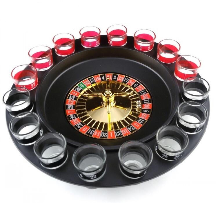 1 Set Russian Lucky Shot Party Games Roulette Drinking Game with 16 Glass Spin Wheel Boa ...