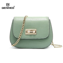 GENMEO Mini Leather Crossbody Bags For Women 2019 Green Chain Shoulder Messenger Bag Lady Travel Purses Handbags Cross Body Bag genmeo new mini leather crossbody bags for women green chain shoulder messenger bag lady travel purses handbags cross body bag