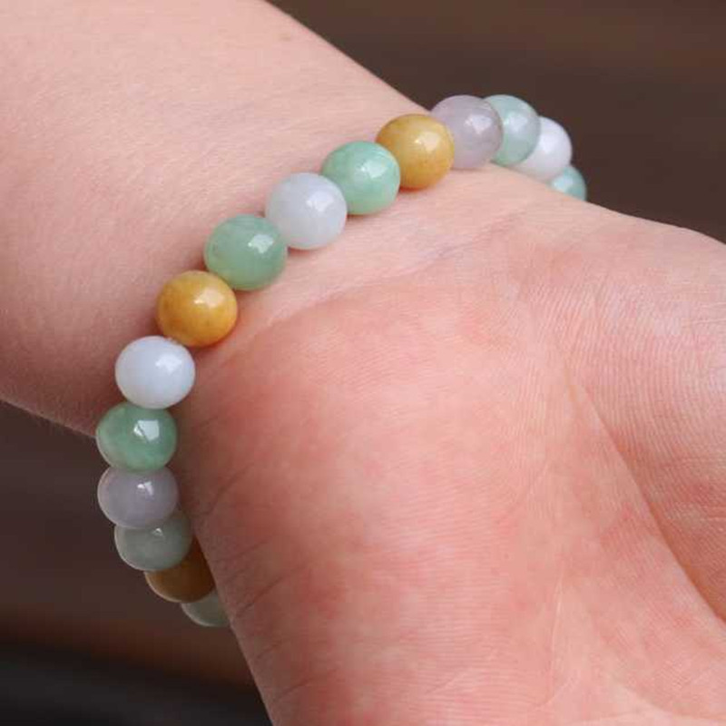 Natural Jadeite Three Color Chalcedony Bead Bracelet Hand Carved Jewelry Gifts Wholesale selling jewelry xinjiang hetian jadeite jadeite overlord pendant natural jadeite men 18 arhat necklace pendant