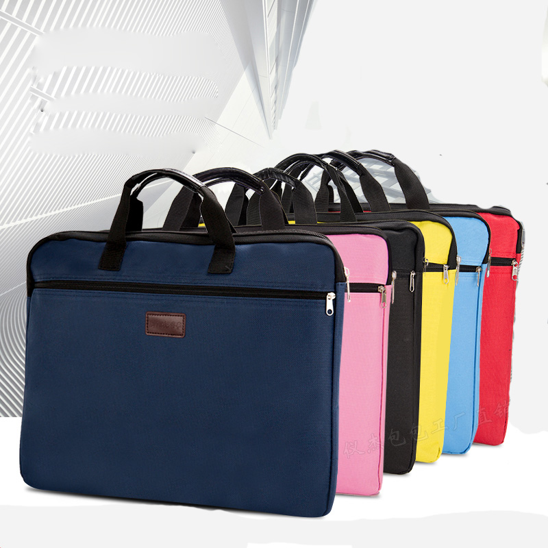 Durable Book A4 Document Bag File Folder Holder Bag With Handle Zip Closure Short Business Travel Man Handbag Red Black