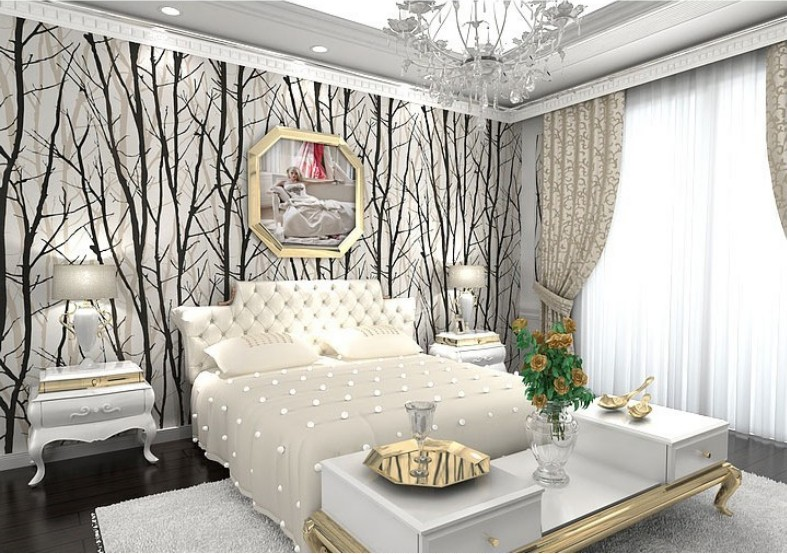 Aliexpress Buy Black White Birch Tree Roll Branches Embossed Wallpaper Dine RoomHallwayBath Room Wall Paper Mural Art Deco Wallcovering 10M From