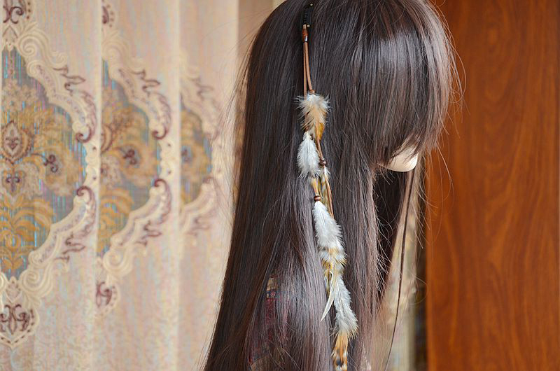 Indian Peacock Feather Tassel Hair Accessories Quartz Stone Bead Head Leather Chain Hippie Headband Wedding Hair Custume Jewelry