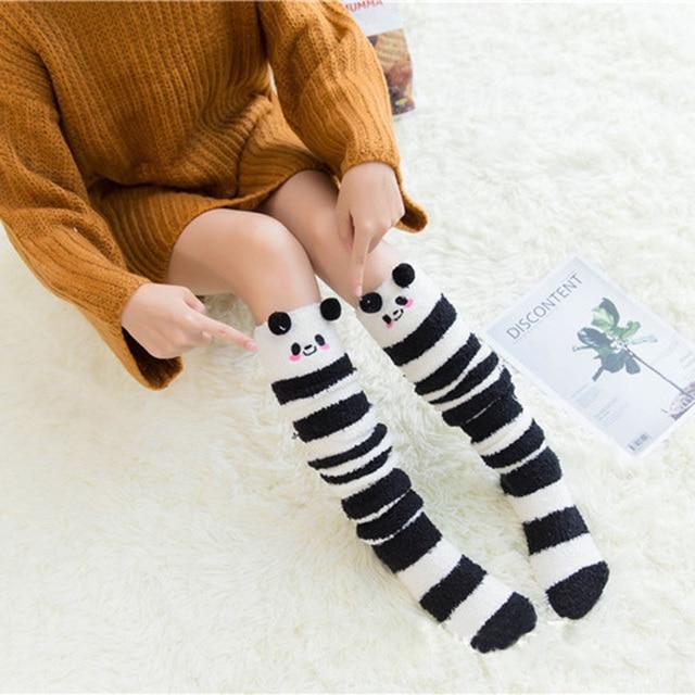 19ac66d1e Cartoon Animal Coral Fleece Socks Female Thickening Terry Warm Stocks  Winter Casual Home Long Thigh High Socks For Girls