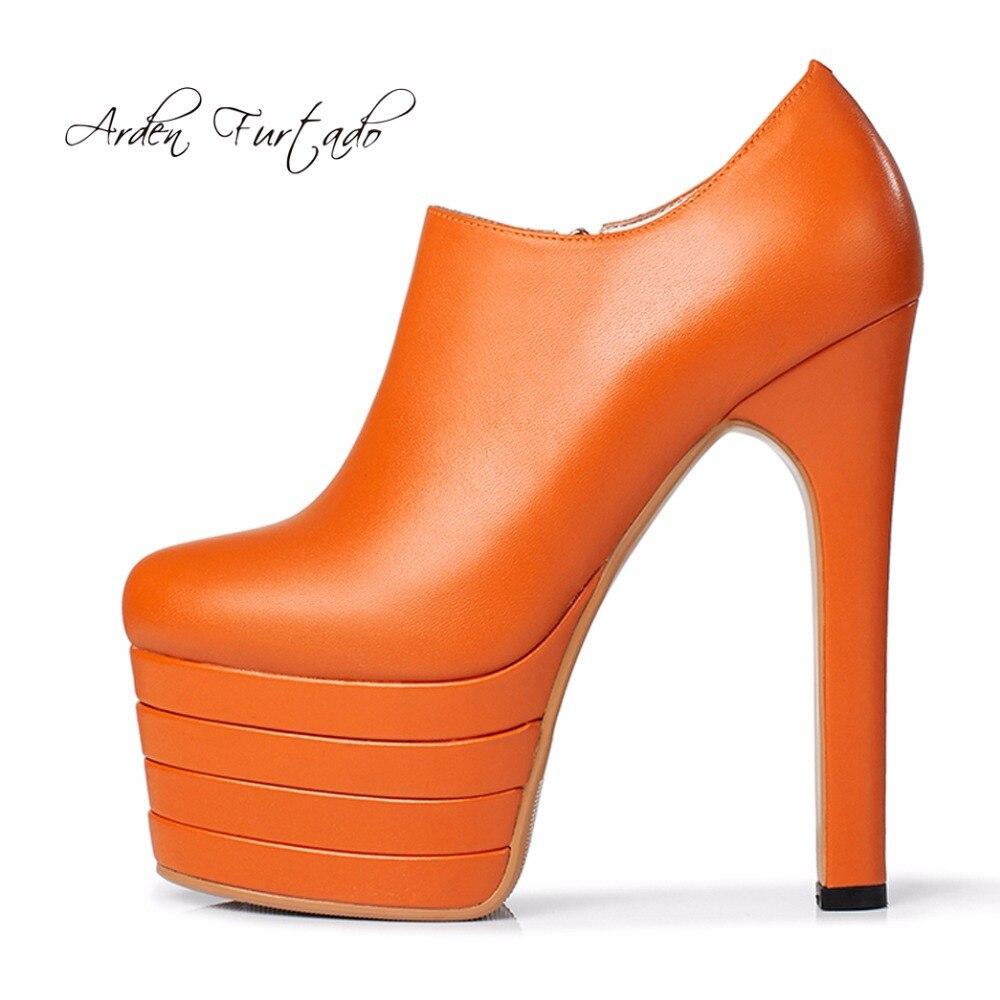아덴 furtado 2018 봄 신발 여성 하이힐 15 cm 오렌지 플랫폼 지퍼 펌프 정품 가죽 패션 회색 신발 여성-에서여성용 펌프부터 신발 의  그룹 1