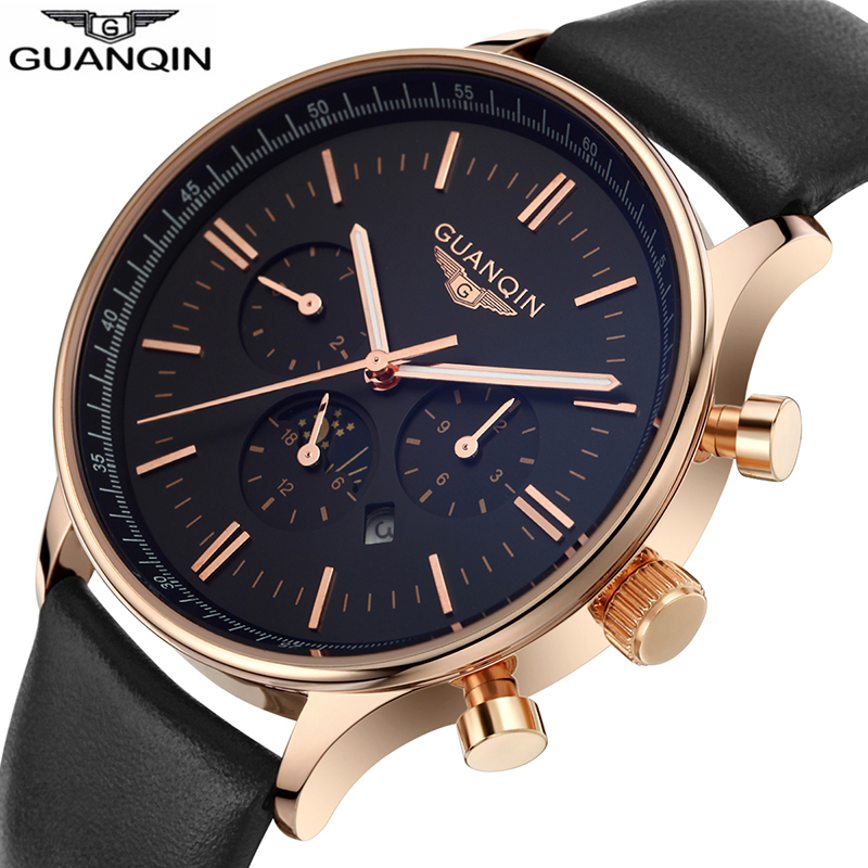 GUANQIN NEW Men's Multifuction Big Dial Workable Sub-dials Calendar 24H Leather Strap Waterproof Quartz Watch Black GQ12003 стоимость