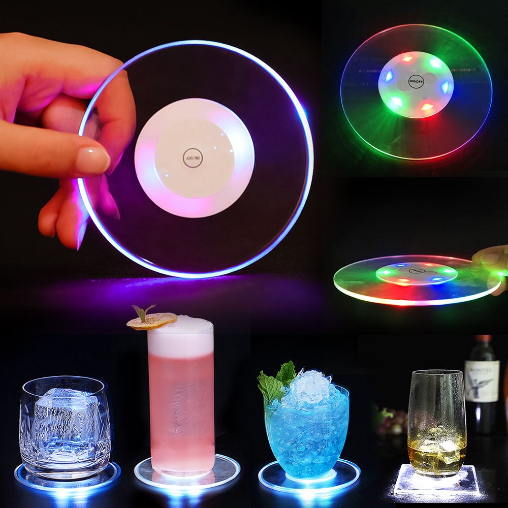 Acrylic Crystal Ultra Thin Led Light Cup Mat Coaster Cocktail Luminous coaster Flash Bar Bartender Lighting