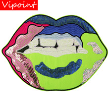 embroidery sequins mouth patches for jackets,mouth teeth badges jeans,applique coats A245