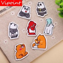 VIPOINT embroidery panda bear patches cartoon animal badges applique for clothing YX-219