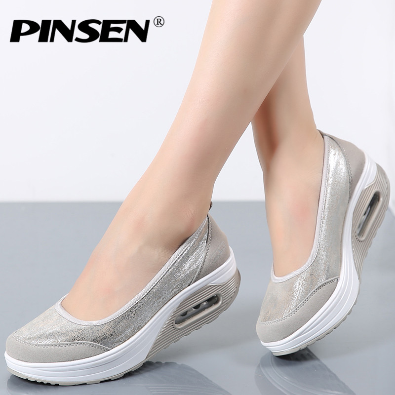 PINSEN Women's Casual Platform Flat Shoes Woman Sapato Feminino Moccasins Women Shoes Slip On For Ladies Creepers Platform Shoes pinsen women flat platform shoes woman moccasin zapatos mujer platform sandals slip on for ladies shoes casual flats moccasins