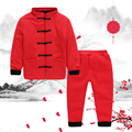 Thick Warm Children Winter Tang-Suit Clothing Set Chinese Tang Dynasty Clothing Baby Tang Suit Coat Pants 2pcs Boy Girl Clothing