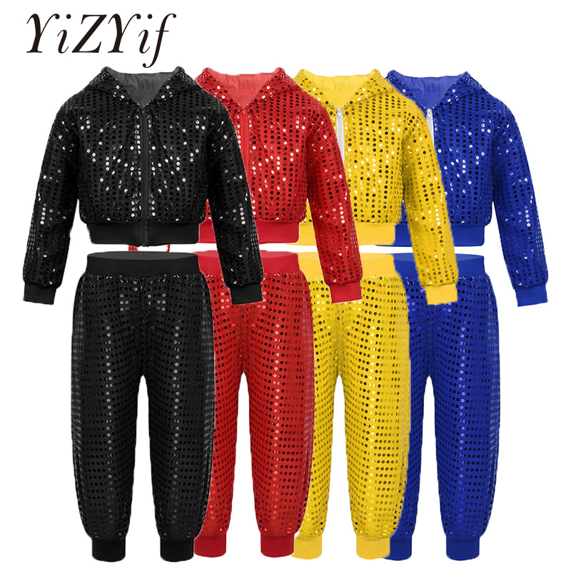 YiZYiF Children Girls Hip-hop Jazz Dancing Costume Sequins Street Dancing Clothing Kids Long Sleeve Hooded Tops With Pants Set
