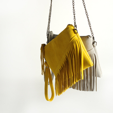 New 2019 Genuine Leather Shoulder Bag For Women Fashion Feminine Summer Small Suede Tassel Fringe Chain Yellow And gray Hand Bag цены