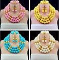 Hot New Nupcial Conjuntos de Jóias Multicolor Casamento Nigeriano Beads Africanos Jóias Conjunto de Cristal Presente Da Moda Neckalce Frete Grátis