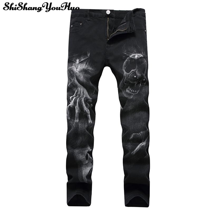 Men's Skull Printed Jeans Men Slim Straight Black Stretch Jeans High Quality Designer Pants Nightclubs Singers Calca Masculina