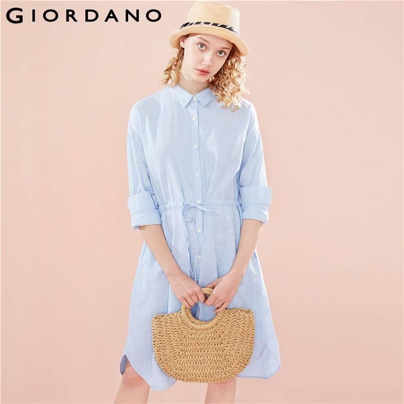 Giordano femmes chemise robe femmes lin coton tissu naturel bande taille femmes Blouse robe à manches longues Slant poche Blusas