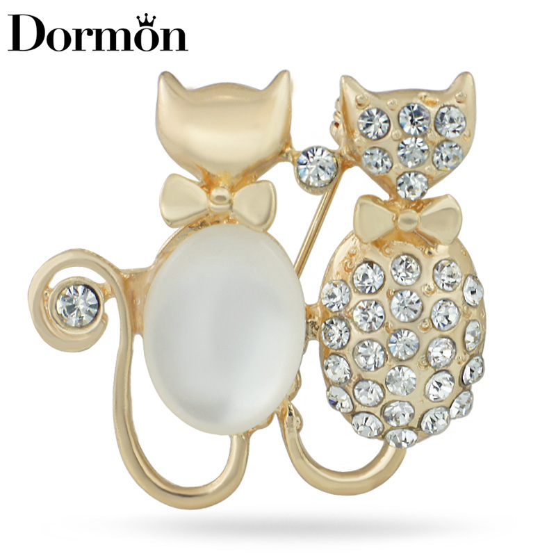 DORMON Lovely Two Cats Brooch Pin Crystal Brooches For Women Bouquet - Fashion Jewelry - Photo 1