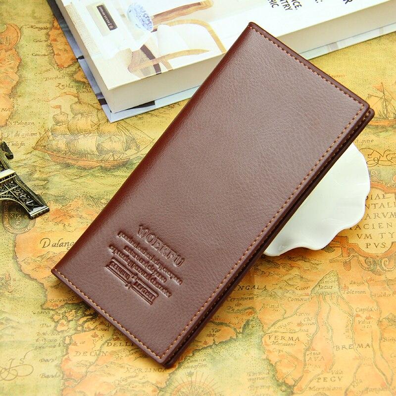 FreeShipping 2016 men wallets brand mens long thin wallet male money purses with Flip up ID Window thin long korean purses Кошелёк
