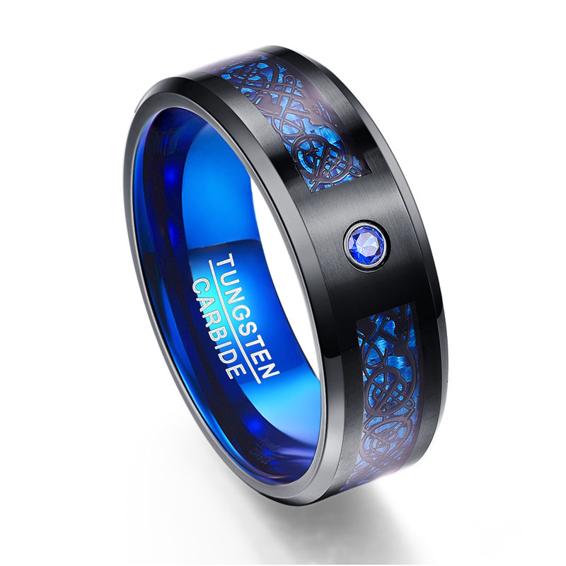 HTB1OrK8bpqZBuNjt jqq6ymzpXae - Foreign Trade Carbon Fiber Scrub Blue Zircon Men Rings 100% Tungsten Carbide Anillos para hombres Black Dragon