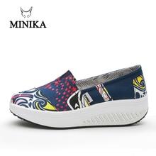 MINIKA Swing Platform Women Flats Breathable Summer Driving Shoes Female Canvas Fitness Slip On Women Flat Shoes dames schoenen недорго, оригинальная цена