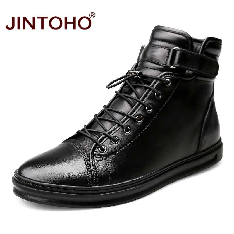 JINTOHO High Quality Winter Genuine Leather Men Shoes Brand Winter Men Boots Black Genuine Leather Male Boots Rubber Boots