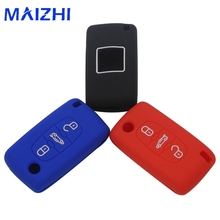 Silicone Remote Key Fob Cover Case For Peugeot 107 207 307 407 308 607 For Citroen C1 C2 C3 C4 C5 C6 C8 3 Btn Car Styling Cover