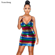 Trancilong Flash Rainbow Color Flowing Sequins Off-Shoulder Party Dress Sling Sexy Nightclub V-neck Sequined Striped