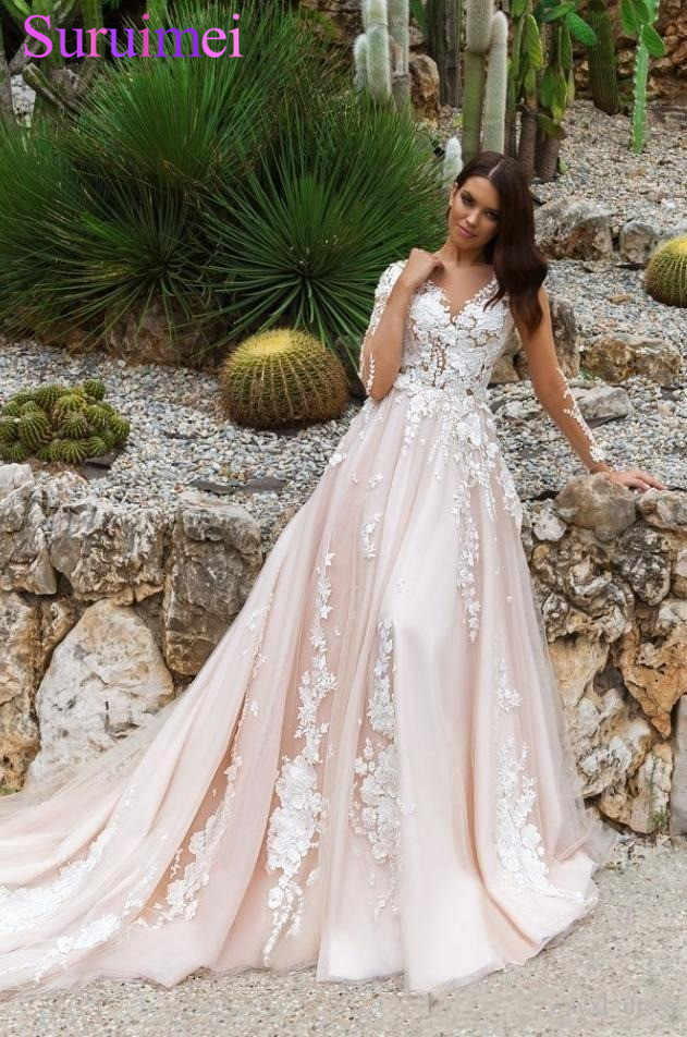 444ff8b18d900 Detail Feedback Questions about Pearl Pink A Line Wedding Dresses V ...