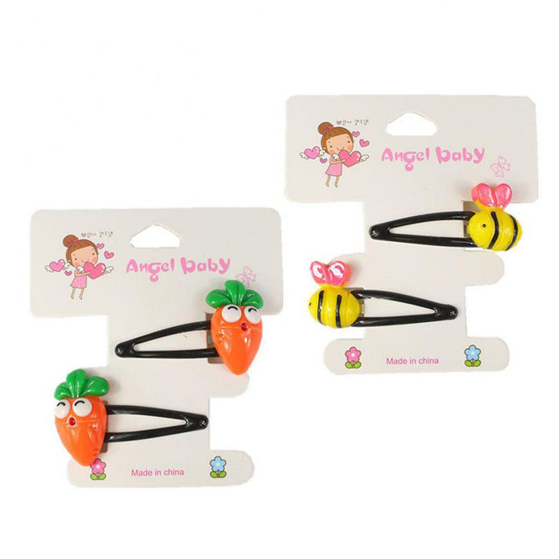 New Headwear Set 2Pcs/Set Children Animal Plant Flower Hair Clips Girls Lovely Bee Rabbit Duck Animal BB Clips Hair Accessories children fashion bobby pins hairpin headwear set 6pcs set girls cartoon hello kitty fox owl cat animal bb clips hair accessories