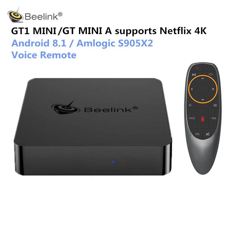 Beelink GT1 MINI GTmini A Smart TV Box Android 8.1 Amlogic S905X2 télécommande vocale décodeur 4K 1000M lecteur multimédia Bluetooth