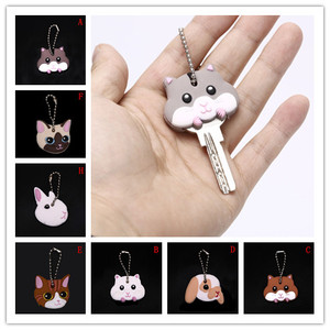 13 Styles Lovely Animals Shape Silicone Cap Head Cover Key Ring Keychain Key Case Shell Cute Jewelry Gift New Arrival