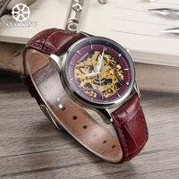 STARKING Skeleton Mechanical Watch Women Sapphire Crystal Wristwatch Luxury Fashion Casual Female Watch Ladies Dress Timepieces