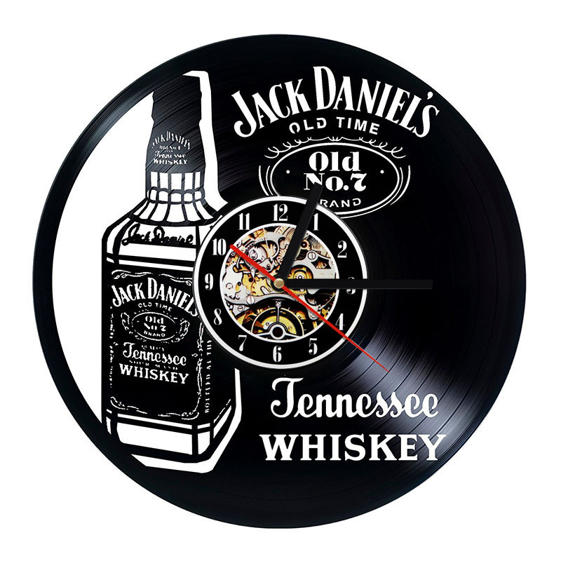 A Bottle Of Whiskey Creative CD Record Clock American Whiskey Design Vinyl Handmade LED Record Wall Clock Antique Home Decor