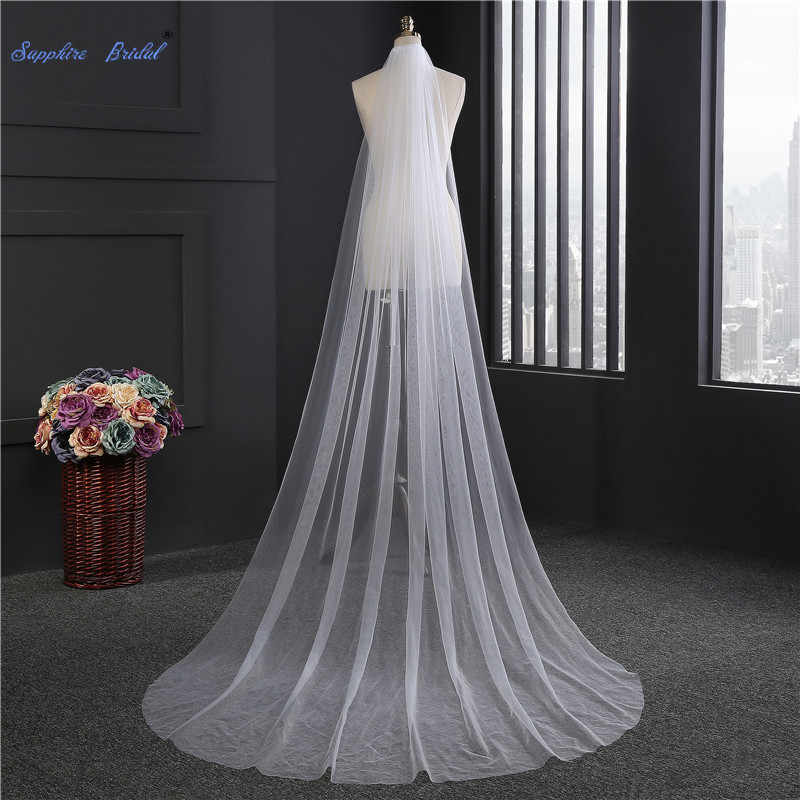 Favordear 2019 New Simple Tulle Wedding Veil  300 cm Single Layer Cathedral Length Bridal Veil White Ivory Veil With Comb