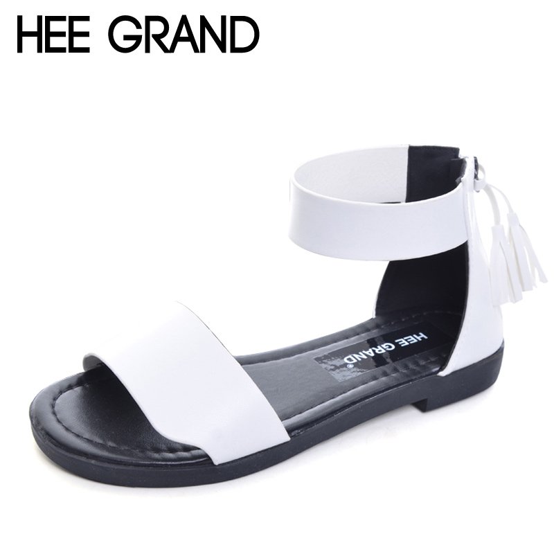 HEE GRAND Summer Tassel Women Sandals 2017 New Slip On Flats Beach Gladiator Sandals Casual Platform Shoes Woman XWZ4204 hee grand lace up gladiator sandals 2017 summer platform flats shoes woman casual creepers fashion beach women shoes xwz4085