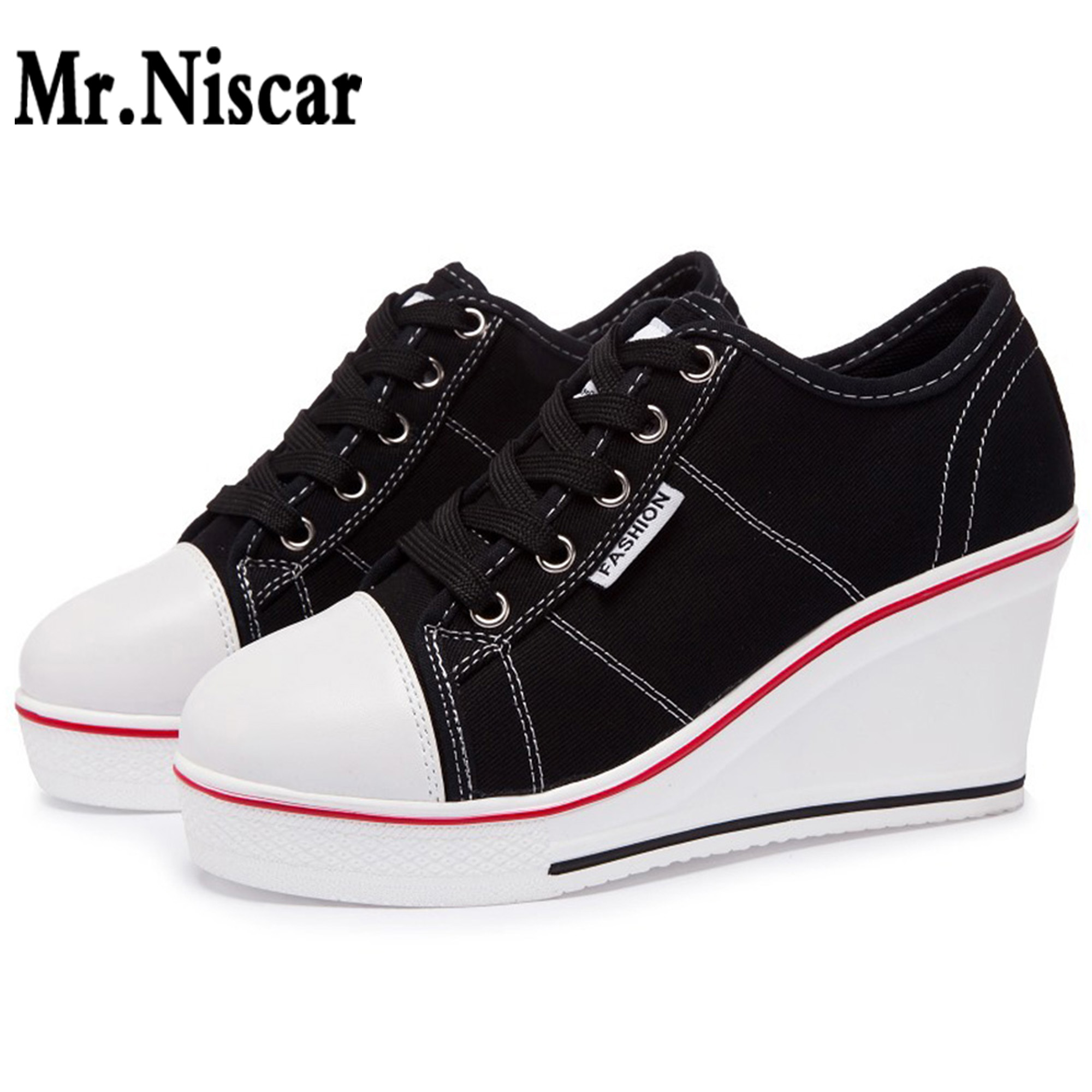 New Casual Wedge Canvas Shoes Women Sports Platform Sneakers Woman 2018 Thick Bottom Low Top 8cm Height Increase Single Shoes 2017 british style women casual shoes street snap low top platform wedge shoes black white lace up thick bottom shoes women