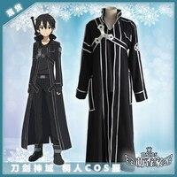 Hot Anime Sword Art Online Kirigaya Kazuto Cosplay Costumes Fashion Black Overcoat Uniform Full Set For Part Role Play Clothing
