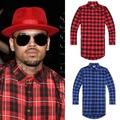 Hip hop mens dress shirt plaid shirts Long sleeve men shirts man extended  red and black plaid shirt bluemen camisa masculina