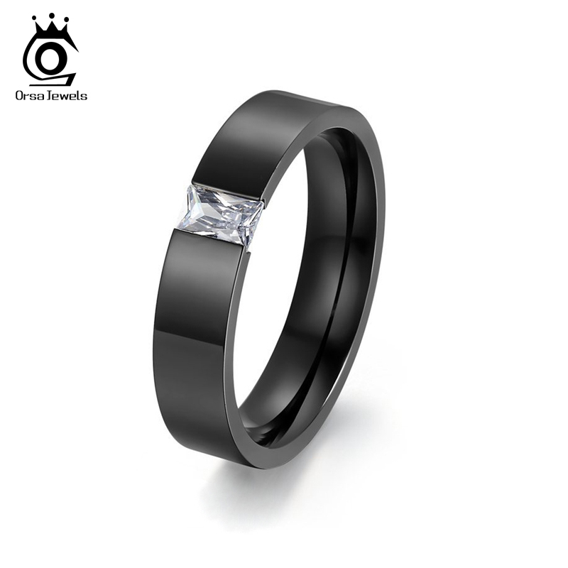 ORSA JEWELS Tension Setting Square Zircon Rings For Men
