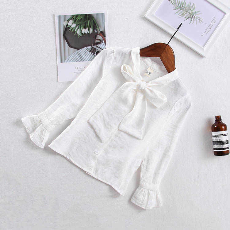 Kids Blouse For Girls White Shirt Bow Doll Clothes Teenager Shirts Children Clothing School Uniform  4 5 6 7 8 9 10 11 12 Years