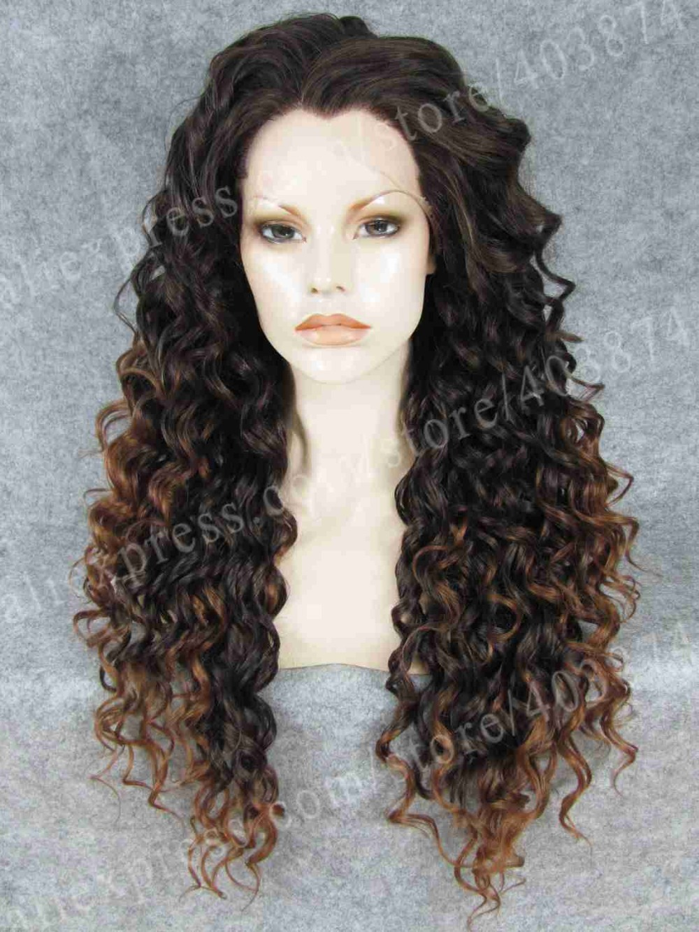 ФОТО New arrival synthetic lace front wig long curly blonde mixed black ombre wig