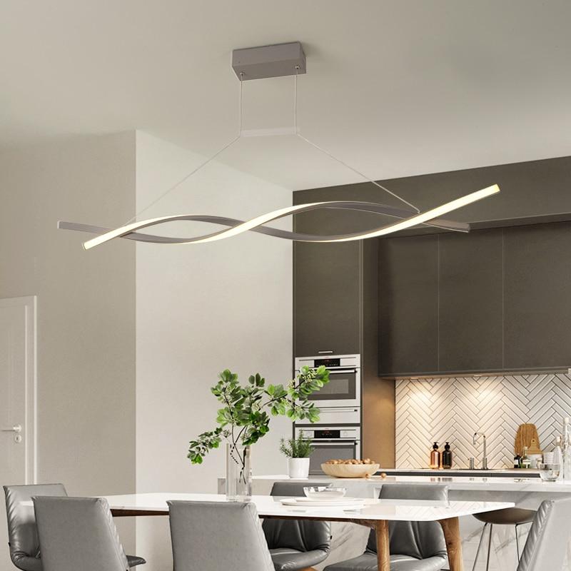 Fosco preto ou cinza minimalista moderno led pingente luzes para sala de estar jantar cozinha sala luminária żyrandol - 5