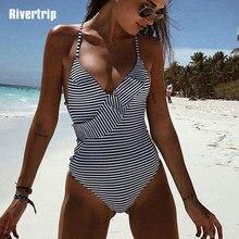 Ривертрип Новый 2019 цельный купальник женский сексуальный глубокий V Купальник женские купальные костюмы с оборками ремень летний купальник пляжная одежда