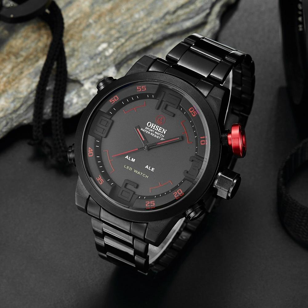 Top Brand OHSEN Volledige Staal Band Analoge LED Digitale Horloge - Herenhorloges - Foto 3