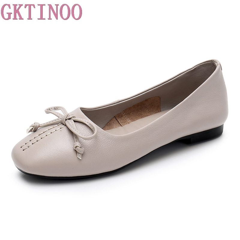GKTINOO Plus Size 35-43 Genuine Leather Women Shoes Woman Flats Fashion Female Casual Work Ballet Flats Ladies Shoes plus size 34 43 women shoes genuine leather flat shoes woman maternity casual work shoes 2018 fashion loafers women flats