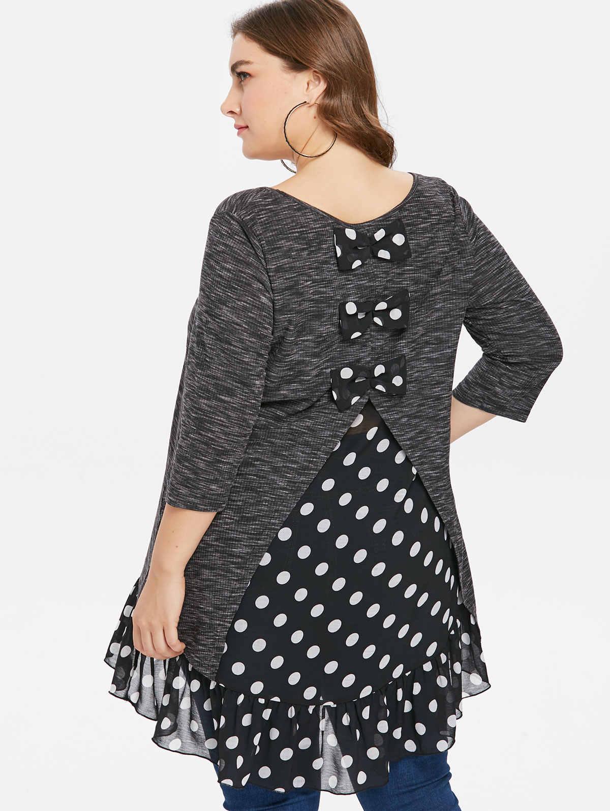 69f6fc29e8d Wipalo Plus Size 5XL Polka Dot Three Quarter Sleeve T-Shirt Bow Embellished  Asymmetrical Hem
