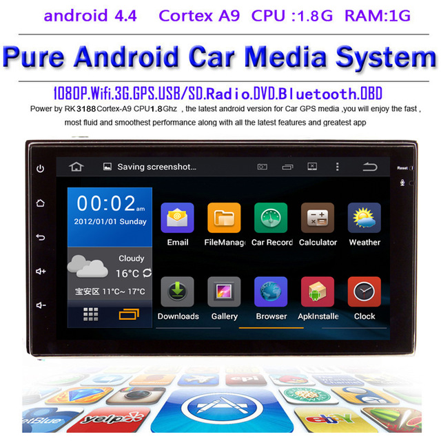 Free Shipping Android 4 4 4 Quad Core 7 HD Capacitive Touch Screen 2 Din In